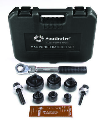 Southwire 9-Piece Max Punch Ratchet Knockout Punch Set Kit w/ Case MPR-01SD