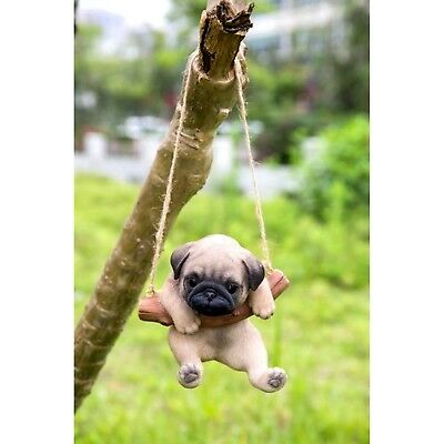 Pug Puppy Dog Hanging Life Like Figurine Home Garden Decor Free Shipping