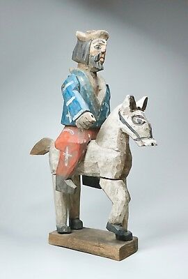 "Vintage Carved Painted Wood Santos on Horse 15"" High"