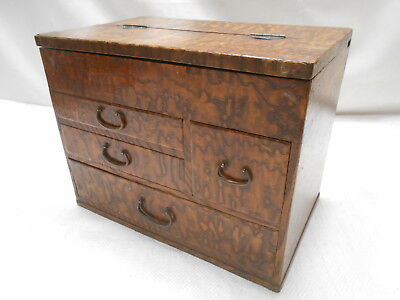Vintage Keyaki and Kiri Wood Sewing Box Japanese Drawers C1930s #715