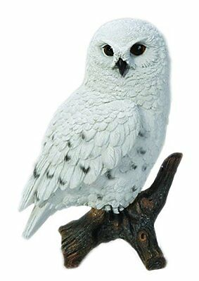 Snowy Owl On A Stump New Life Like Realistic Intricately Detailed Figurine