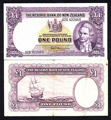 New Zealand NZ  1 Pound - Fleming ND (1956-67) No Thread P. 159c  VG Note