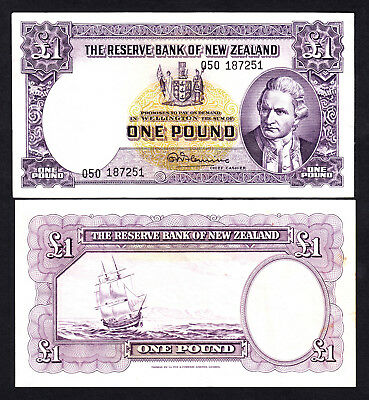 New Zealand NZ  1 Pound - Fleming ND (1956-67) No Thread P. 159c  Fine+  Note