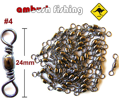 50 BARREL FISHING SWIVELS SIZE #4 / TEST - 30kg black nickel FISHING TACKLE BULK