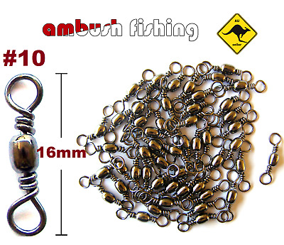 50 BARREL FISHING SWIVELS SIZE #10 / TEST  15kg black nickel TACKLE BULK Whiting