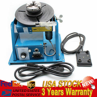 "Rotary Welding Positioner Turntable Table Mini 2.5"" 3 Jaw Lathe Chuck 10KG 110v"