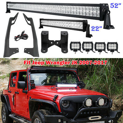 "52INCH +22in +4"" LED Light Bar +Mounting Brackets For 2007-2017 Jeep Wrangler JK"