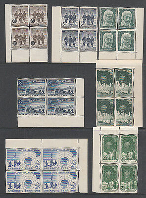 AAT Pre decimal set of 7 MNH in Corner Blocks of 4