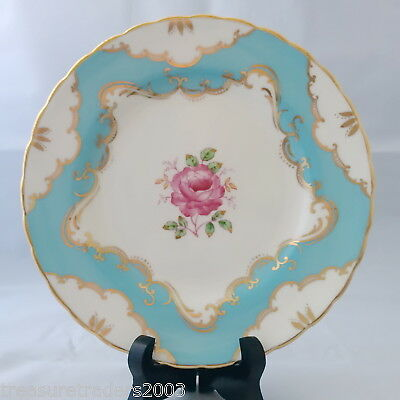 🌟 TUSCAN SIDE or SALAD PLATE AQUA BLUE WHITE WITH PINK ROSE & GENEROUS GOLD