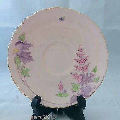 🌟 Tuscan Saucer Pale Pink With Purple Leaves & Pink Hollyhocks & Butterfly