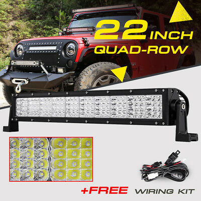 "22"" 1440W Quad-Row CREE LED Work Light Bar Spot Flood Offroad 4WD For Jeep Ford"