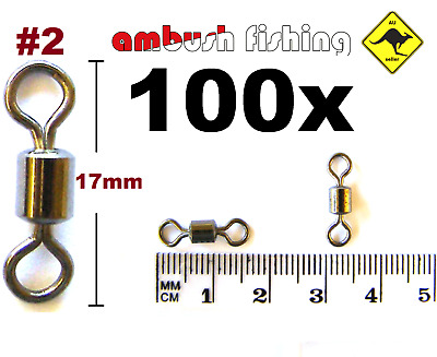 100 ROLLING FISHING SWIVELS SIZE #2 / TEST 43kg black nickel TACKLE BULK SNAPPER