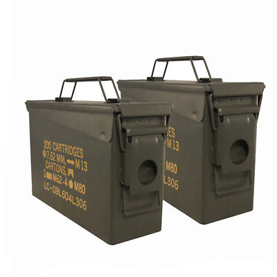 2 Pack 30 Cal Ammo Can Box Military M19A1 Metal Storage US ARMY