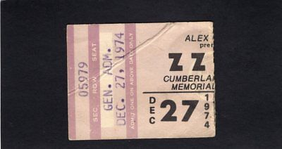 Original 1974 ZZ Top concert ticket stub Cumberland Memorial Tres Hombres