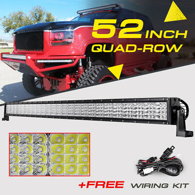 52INCH 3600W Quad-Row CREE LED Work Light Bar Spot Flood Truck Offroad 42/50/54""