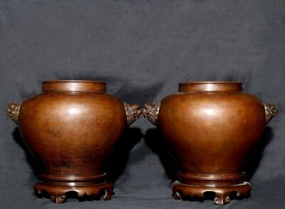 Pair of Large Rare Antique Chinese Bronze Base Vases Pots Marked ShiSou AA096