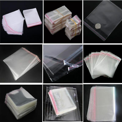 100pcs 2''-22'' Resealable Opp Plastic Self Adhesive Seal Bag With Tracking