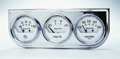 """Auto meter Three-Gauge Chrome Console 2-1/16"""", Mechanical, White Dial"""
