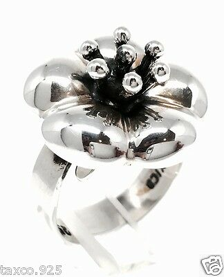 Taxco Mexican Sterling Silver Deco Floral Flower Ring Mexico