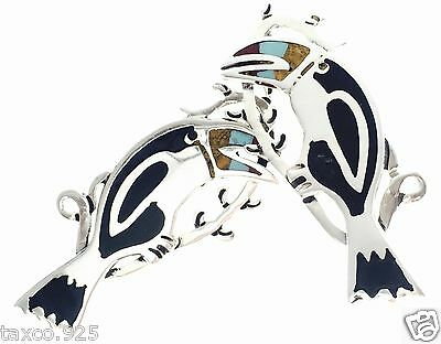 Taxco Mexican Sterling Silver Turquoise Coral Toucan Earrings Mexico