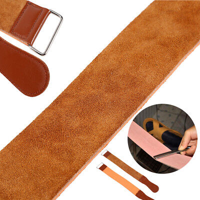 Cow Leather Manual Strop Straight Barber Shave Razor Blade Sharpen Strap Brown