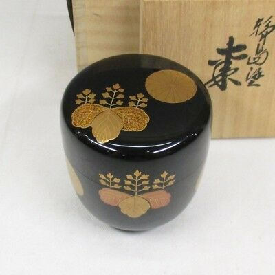 H878: Japanese lacquerware powdered tea container with high-quality MAKIE w/box