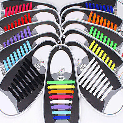 16PCS Lazy Elastic Silicone Shoelaces No Tie Easy Sneakers Running Shoe Laces