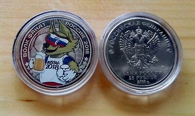Russia coins  World Cup 2018 mascot ZABIWAKA-Fanat (wolf) 25 rubles colored unc