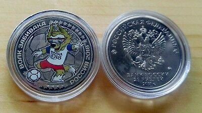 Russia coins,World Cup 2018 mascot ZABIVAKA,25 rubles,colored,unc