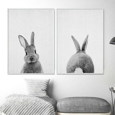 Black White Rabbit Animal Canvas Art Poster Print Picture Modern Home Decoration