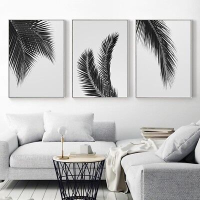 Black White Plant Palm Tree Leaves Wall Art Canvas Poster Print Home Decor