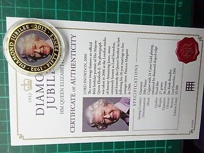 50p 2011 DIAMOND JUBILEE Guernsey Gold Plated Coin In Capsule + Cert