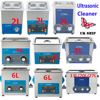 UK Digital Stainless Ultrasonic Cleaner Timer Ultra Sonic Bath Cleaning Tank New