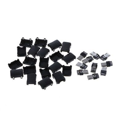 10 Sets Micro USB T Port Male 5 Pin Plug Socket Connector & Plastic Cover DIY