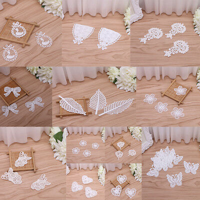 10PCS Delicate Leaf Lace Applique Sew On Embroidery Garment Patches Craft Decor