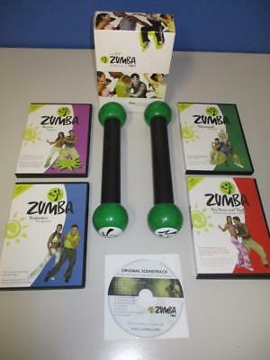 ZUMBA Toning Sticks + 4 DVD's in Box + Soundtrack Dance Personal Fitness Exclt
