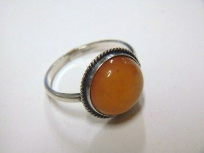 Russian Vintage 875 Silver Ring w/ Baltic Amber. Russia / USSR. Brand marked.