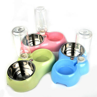 1 Set Stainless Steel Double Pet Dog Cat Feeder Bowl Water Food Holder Container