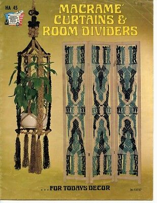 Macrame Curtains & Room Dividers, 1975  Plant hanging room divider, wall hanging