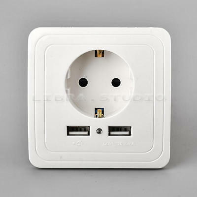 EU Plug Dual 2 USB Port Wall Socket Charger Power Receptacle Outlet Plate New