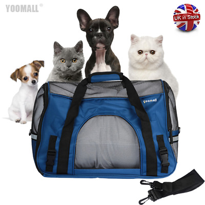 Large Pet Carrier Cat Dog Portable Travel Carry Tote Cage Shoulder Bag Blue UK