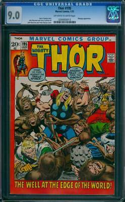 Thor # 195  The Well at the Edge of the World !  CGC 9.0 scarce book !