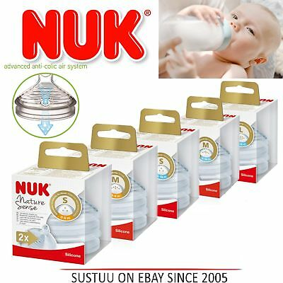 NUK Nature Sense Silicone Baby Milk Formual Bottle Anti-Colic Teats Size S| M| L