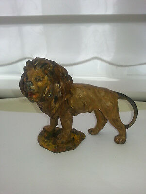 Cold Painted Metal Lion, (Animal).