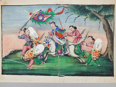 1) FINE CHINESE WATER COLOUR PAINTING ON RICE/PITH PAPER OF WARRIORS 19thC