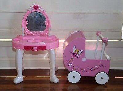 Wooden Dolls Pram and Girls Pink Toy Dressing Table Pick Up Narre South 3805