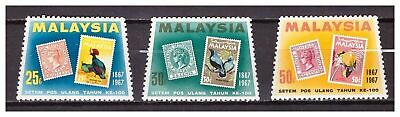 s19966) SINGAPORE MNH** 1967 Stamp centenary 3v