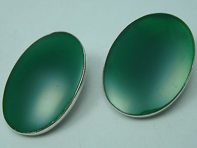 VERY NICE BIG BEAUTIFUL GREEN AGATE ohrclipse from 925 Sterling Silver