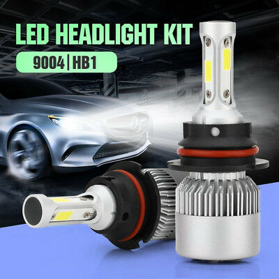 2X 9004 HB1 72W 8000LM S2 Car COB LED Headlight Conversion Kit Light Bulbs 6000K