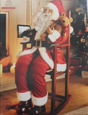 New Large Santa Claus in Rocking Chair With Teddy Christmas Decoration 75cm